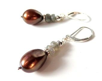 Brown Pearl Earrings, Rainbow Pearls and Labradorite, Sterling Silver, Brown Oval Freshwater Pearls, Destination Wedding, Gift for Her
