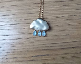 cloud necklace with drops and cristal