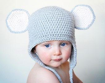 Mouse Earflap Hat Crochet Pattern *Instant Download*(Permission to sell all finished products)