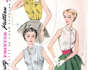 """Vintage 1953 Simplicity 4238  Sleeveless Blouse Sewing Pattern Size 14 Bust 32"""""""