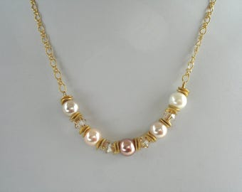 Pearl and crystal necklace, five pearl necklace, vermeil and pearls