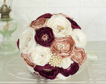 Fabric bridal bouquet, Ivory, Berry and Rose Satin and Lace Bridal Bouquet, Vintage Inspired Fabric and Brooch Wedding Bouquet
