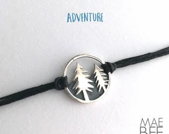 Pine tree bracelet, sterling silver, wanderlust, gift for woman, gift for hiker, nature bracelet, outdoor jewelry, graduation gift
