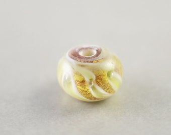 Gold Yellow Lampwork Bead, Metallic Gold Bead, 12mm Glass Rondelle