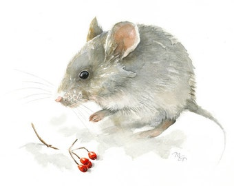 Winter Mouse - Archival print of watercolor painting. Art Print. Nature or Animal Illustration. Red and Grey