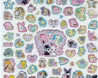 Kawaii Japan Big Sticker Sheet Assort - 2014 Sanrio Jewelpet Unicorn Sheep Dogs Bunny Alpaca Lions Animals 100 Pieces Z