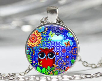 OWL, owl glass cabochon necklace