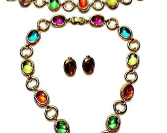 Fruit Salad Necklace Earrings and Bracelet Bezel Set Multi Color Cabochons in Gold Tone