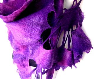 Nuno Felted Scarf, Ruffled, Wavy, Purple, With Lacy Floral Elements, Silk Merino Wool Mohair Felted Wrap