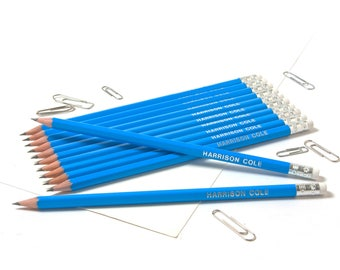 High Quality Personalised Pencils -Printed with Name - Ocean Blue