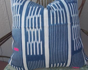 Baule African mud cloth faded Vintage Indigo pillow cover