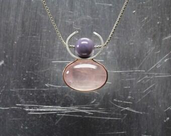 Deer Goddess Necklace Rose Quartz Purple Agate 14K Rose Gold Silver Pendant Feminine Pink Oval Cabochon Unique Abstract Antler - Rehgöttin