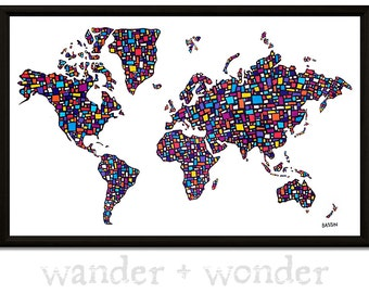 Artsy world maps for those who like to by wanderwonderworldmap large artistic world map on canvas or pin board colorful mondrian inspired gumiabroncs Choice Image
