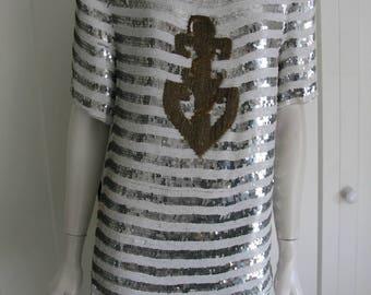 Vintage 80's MODI Anchor Nautical Top - Sequins & Silk Size 8