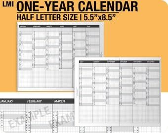 1-year Calendar for 2019, 2020, 2021 / fold into Half Letter - Inserts Refills Filofax Binder Collins
