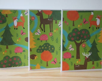 12 Woodland Note Cards. Forest Card Set. Woodland Animal Card Set. Deer Card Set. Fox Card Set. Blank Note Cards