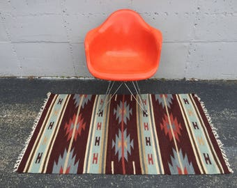 Native American Style Rug with Geometric Pattern in Brick Red 3 x 5