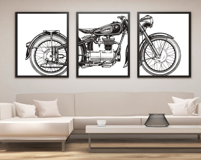Featured listing image: Motorcycle Print Set, Motorcycle Panel Art, Panel Wall Art, Motorcycle Art, Man Cave Wall Decor, Large Wall Art, Gifts for Him, Office Art