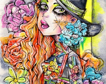 Neon Bright Floral Fashion Watercolor Mixed Media Illustration