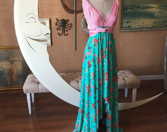 Two-Toned Tulip Cut Multi Print Long Octopus Infinity Convertible Wrap Gown~ Custom combine prints. Carnival Stripe with Peach Floral