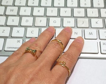 Gold Bow Ring, Gold Rings, Bow Rings, Thin Rings, Stack Rings