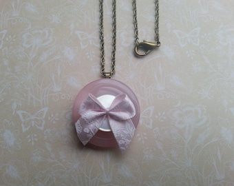 """pink button and ribbon layered handmade button necklace on a 18"""" chain"""