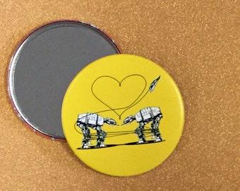 3.5 Inch AT-AT Love Purse Mirror - Yellow, Star Wars Mirror, Star Wars Gift, Star Wars Party, Pocket Mirror, Compact Mirror, Hand Mirror