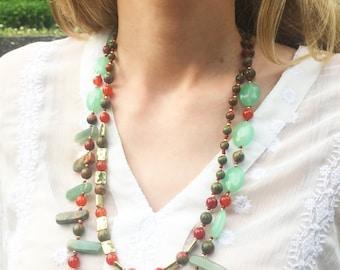 Two Strand Natural Stones Long Necklace