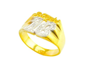 LR2104y - Yellow Gold Plated Sterling Silver Sweet 16 Ring