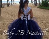 Navy Dress Lace Dress Flo...