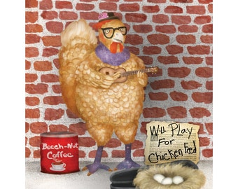 Abandoned Urban Hipster Chicken Print