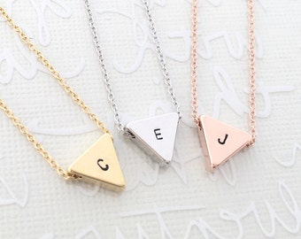 Tiny Triangle Charm Necklace / Handmade, Hand Stamped / Geometric / Bridesmaid, Birthday and for all Meaningful Gift / Love Gift