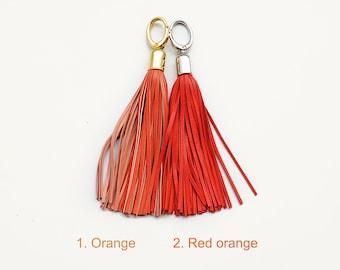 Leather Tassels, Orange long tassel