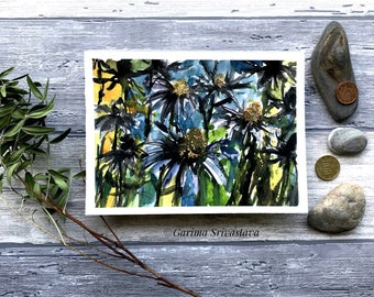 Abstract original floral watercolor painting yellow flower field artwork wall art eye catching botanical art small bright cheerful aquarelle