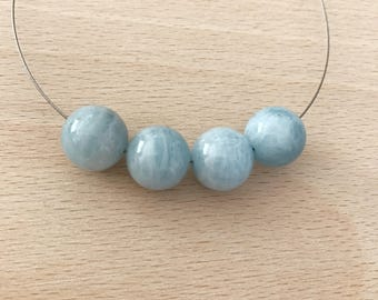 4 Beads Natural 11mm Aquamarine Quartz Round Beads PB162