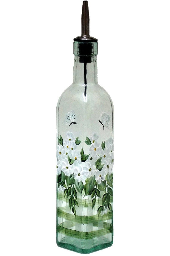 Hand painted glass bottle olive oil dispenser white flowers for Painting flowers on wine bottles