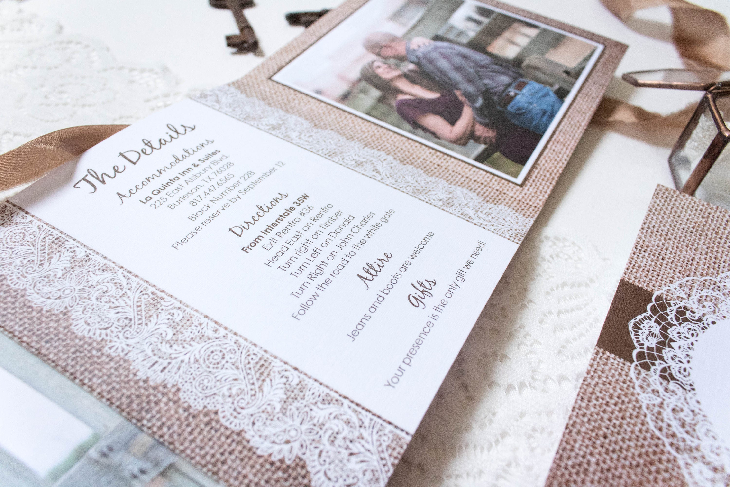 5x5 Burlap and Lace Rustic Tri Fold Wedding Invitation and Postcard ...