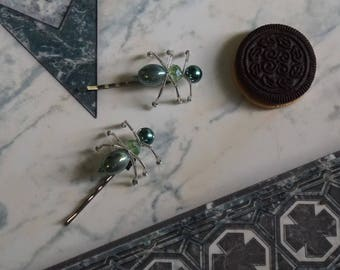 Green Glass Bead and Wire Bug Ant Hair Accessories