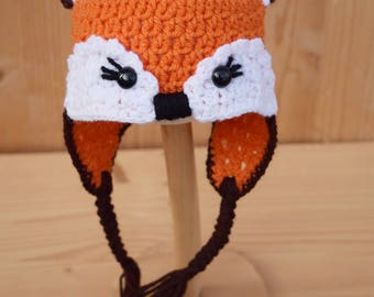 Crochet baby hat, Fox hat, Newborn photo prop, newborn/baby hat, baby boy, baby girl, newborn prop, Animal hat, Ready to ship