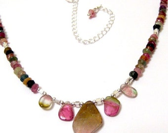 Juicy Watermelon Slice Tourmaline pink and green two piece Necklace and Earrings Set