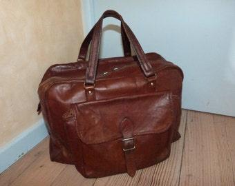 Antique leather weekender bag handbag luggage travel bag case French LARGE 1900s traveling bag, traveler bag brown leather overnight bag
