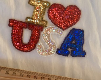 USA Heart Sew-On Applique Sequins  - Vintage - Red White Blue Patriotic Heart USA Embellishement