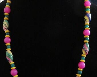 "Vibrant Emerald Green, Deep Pink, Bright Yellow  Handmade Beaded Original Design Necklace, 25"" long, Boho design, Iris Apfel styling"