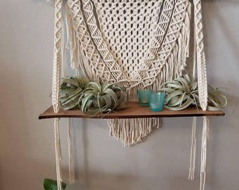 Macrame shelf, macrame wall hanging, shelf