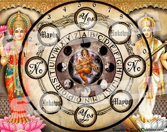 Hindu Goddess Pendulum Board -  Saraswati and Lakshmi Digital Download emailed to you