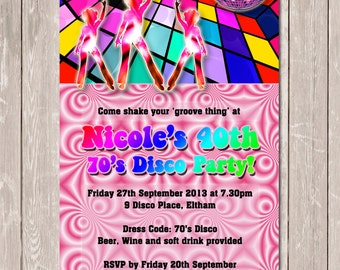 Funky 70's 80's Personalised Disco Invitation - YOU PRINT