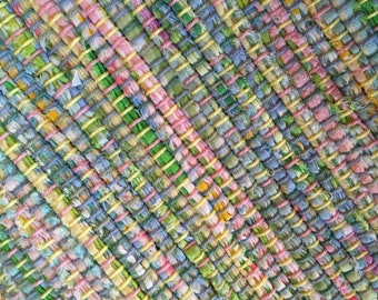 """Hand Woven Rag Rug - Pale Spring Cotton 27"""" x 32"""""""