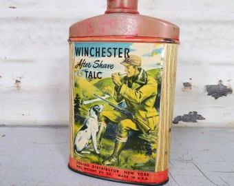 Winchester Men's Talc Powder Shaker Tin, Sportsman, Hunter RARE Vintage Sporting Collectible