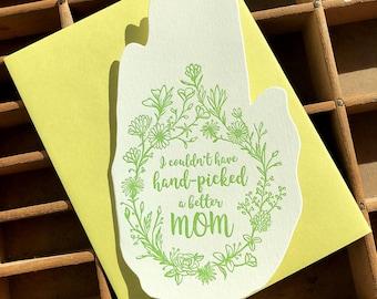 handpicked mom hand shaped card