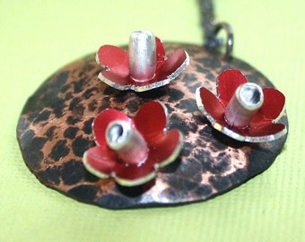 Red Flower Garden Necklace hammered copper disc pendant anodized aluminum flowers riveted blackened sterling silver chain